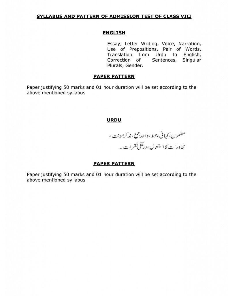 SYLLABUS AND PATTERN OF ADMISSION TEST OF CLASS VIII-page-001