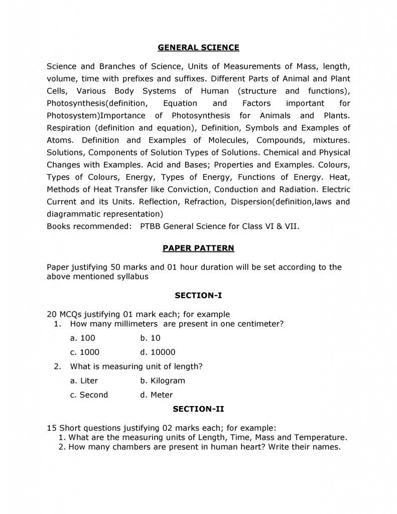 SYLLABUS AND PATTERN OF ADMISSION TEST OF CLASS VIII-page-003