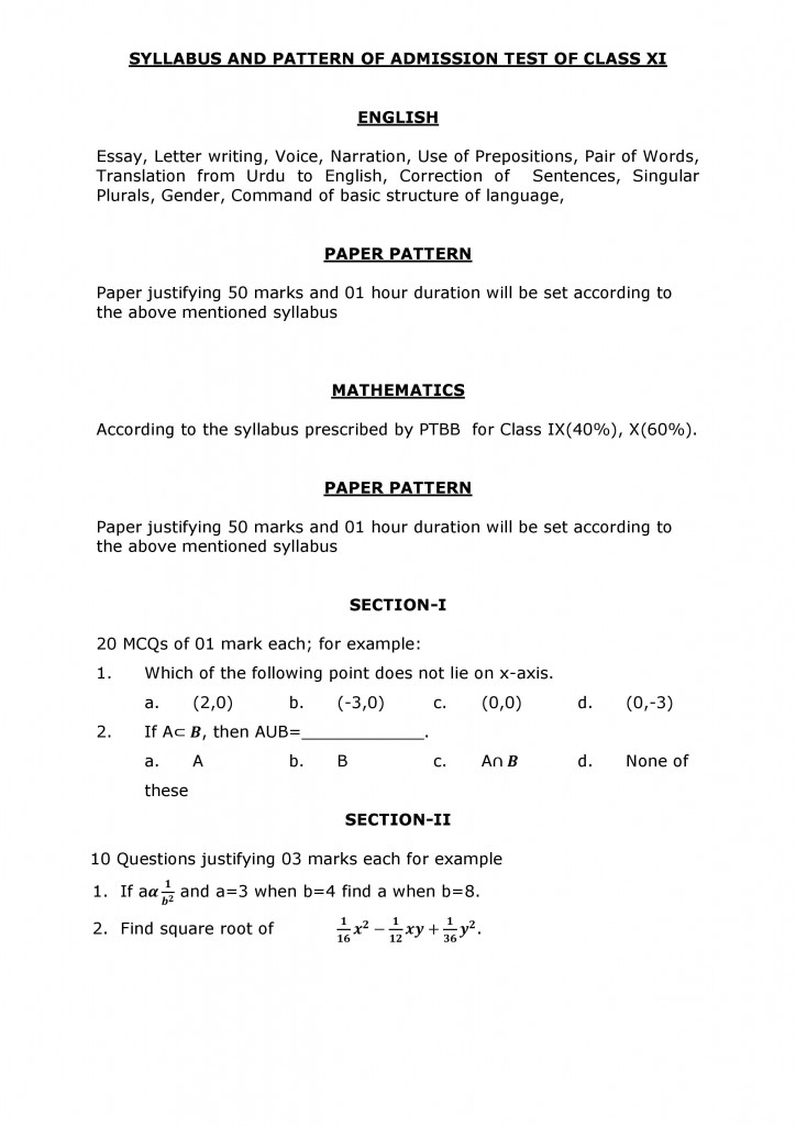 SYLLABUS AND PATTERN OF ADMISSION TEST OF CLASS XI-page-001