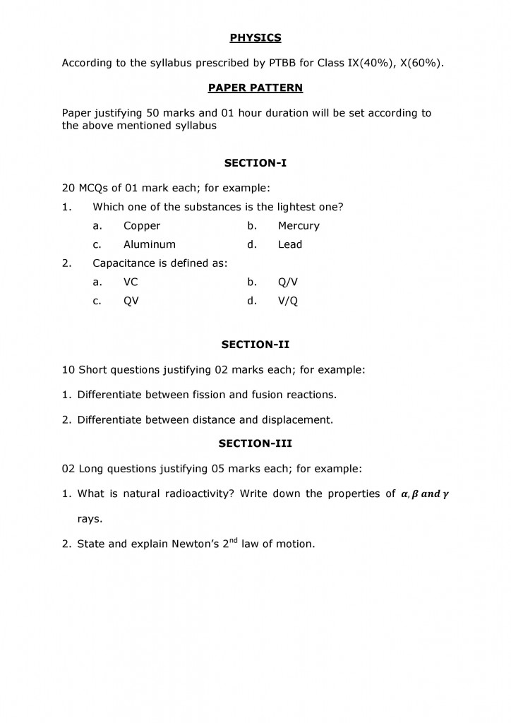 SYLLABUS AND PATTERN OF ADMISSION TEST OF CLASS XI-page-003