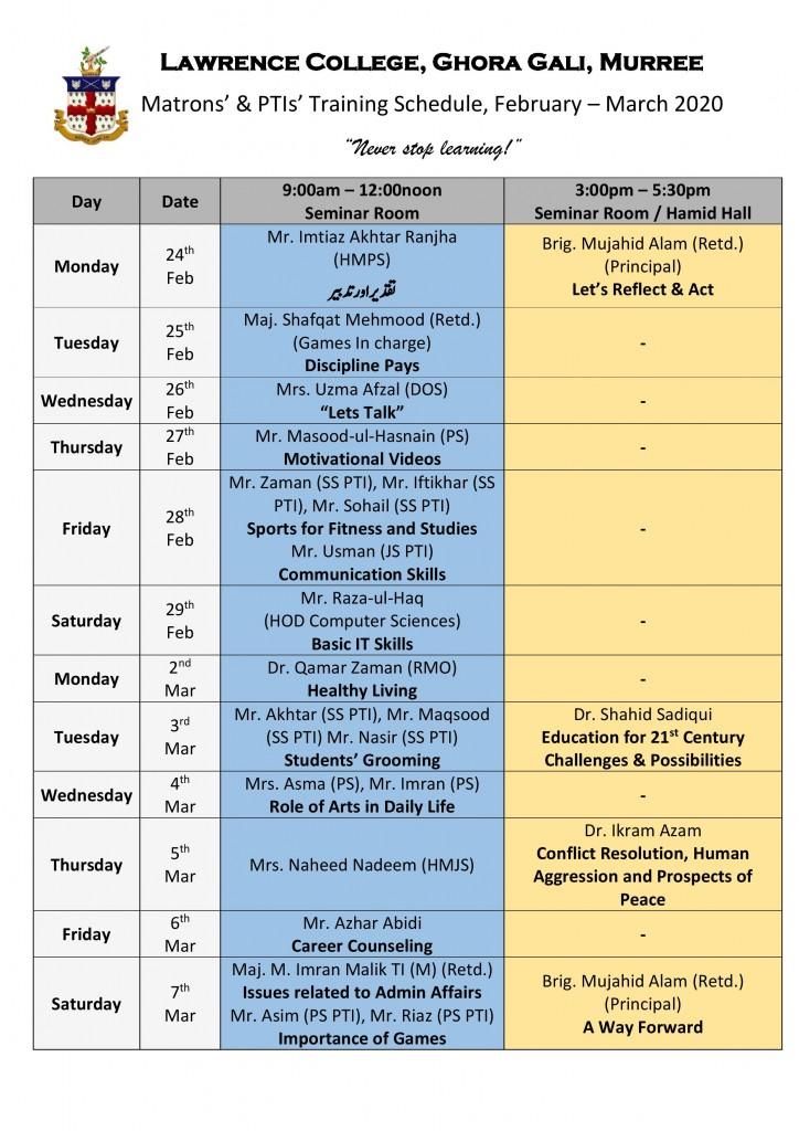 Admin Training Schedule 2020